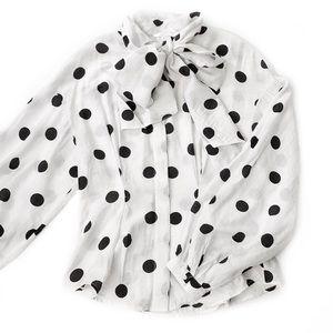 H&M • Polka Dot Bow Neck Blouse